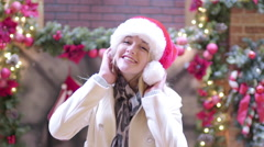Cute Teenage Girl Poses For Christmas Portraits In Mall Stock Footage