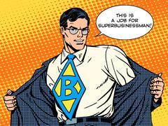 Job super businessman hero Stock Illustration