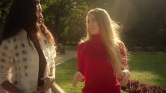 Friends,  girls, caucasian and african walking in park, talking, slow motion. Stock Footage
