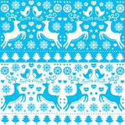 Stock Illustration of Winter, Christmas seamless blue pattern with reindeer - folk style