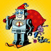 Robot Santa Claus Christmas gifts humor character Robosanta - stock illustration