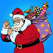 Santa Claus with gift bag okay gesture - stock illustration