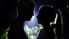 Couple romance at night and moon shining 4K Stock Footage
