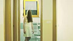 Horror person with hidden face walk towards camera 4K - stock footage