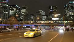 4k video of Melbourne CBD at night Stock Footage