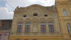 Beautiful carved building on Republicii street, Brasov Stock Footage