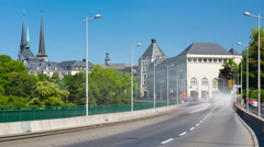 Traffic on the viaduc in Luxembourg city Stock Footage