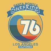 Surfing t-shirt graphic design. Santa Monica California surf typ - stock illustration