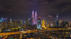 Kuala Lumpur Night Timelapse during cancer campaign. Pan effect. Stock Footage