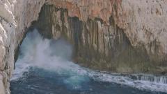 Crashing Wave Sea Spray Coastal Cave Capo Caccia Sardinia - 25FPS PAL - stock footage