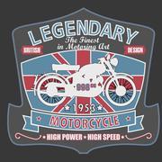 British Motorcycle T-shirt Design, vector illustration - stock illustration