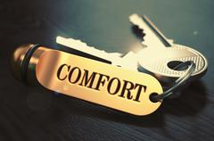 Comfort - Bunch of Keys with Text on Golden Keychain - stock illustration
