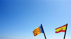 Flags of Spain and Valencia Stock Footage