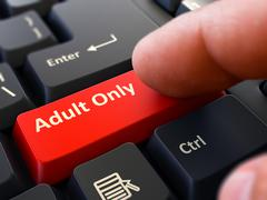 Adult Only Concept. Person Click Keyboard Button - stock illustration