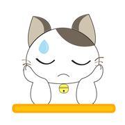 Cute cat character - stock illustration