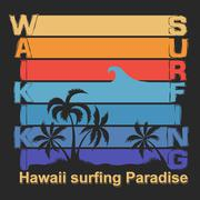 Surfing t-shirt graphic design. Waikiki Beach Hawaii Honolulu Su - stock illustration