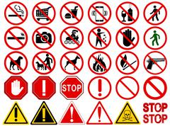 Set of  Signs for Different Prohibited Activities Stock Illustration