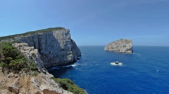 Isola Foradada Capo Caccia Moving Panorama Sardinia Italy - 25FPS PAL Stock Footage