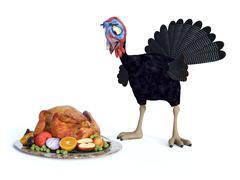 Silly chocked toon turkey. Stock Illustration