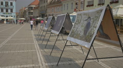 Outdoor gallery in Council Square, Old Town, Brasov Stock Footage