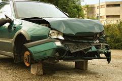 car crash with a lot of damage - stock photo