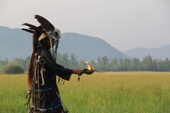 Shaman in South of Siberia - stock photo