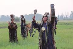 Shamans in South of Siberia - stock photo