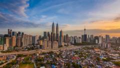 Timelapse of Kuala Lumpur Skyline at Sunset. Stock Footage