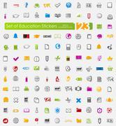 Set of education stickers - stock illustration