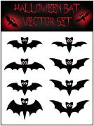 Vector set of Halloween bat silhouette. Stock Illustration