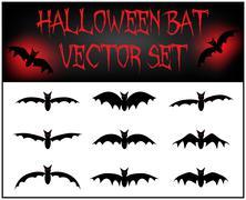 Vector set of Halloween bat silhouette. Piirros