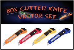 Vector illustration of realistic box cutter knife set - stock illustration