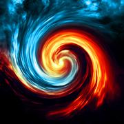 Fire and ice abstract  background. Red and blue smoke swirl on dark backgroun Stock Illustration