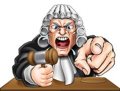 Angry Judge Cartoon Stock Illustration