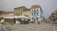 Old buildings in the Council Square, Brasov Stock Footage