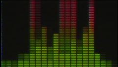Digital audio VU meters moving to beat with VHS effect - In 4k Stock Footage