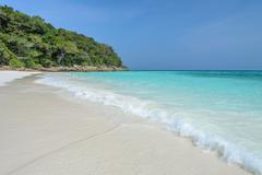 Idyllic white sand beach of Tachai island, Thailand Stock Photos
