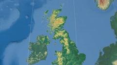 East Dunbartonshire - Scotland (United Kingdom) extruded. Bumps shaded Stock Footage