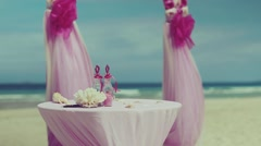 beautiful wedding setup  on tropical beach background - stock footage