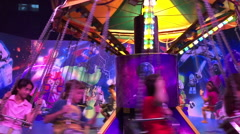 Amusement park at night Stock Footage