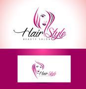 Hairstyle Salon Logo Design - stock illustration