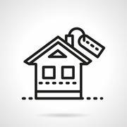 Mortgage simple black line vector icon. - stock illustration