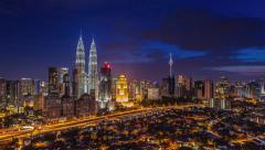Kuala Lumpur sunset time lapse. Pan to right effect. 4K Stock Footage