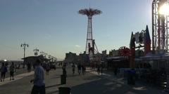 Coney island boardwalk, Brooklyn Stock Footage