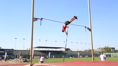 Track And Field Athlete Doing Pole Vault Stock Footage