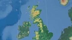 East Renfrewshire - Scotland (United Kingdom) extruded. Bumps shaded Stock Footage