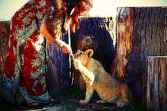 Stock Photo of young woman with ornamental dress and gold jewel playing with lion cub in nature