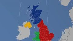 East Renfrewshire - Scotland (United Kingdom) extruded. Solids Stock Footage