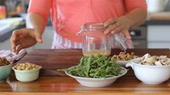Mushroom-hummus  salad recipe Stock Footage