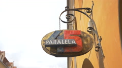 Paralela 45 shop sign on Apollonia Hirscher street, Brasov Stock Footage